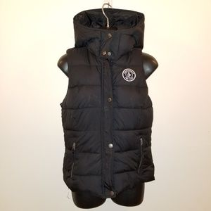 Abercrombie Finch SZ Small Puff Hooded Vest  BLK